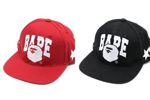 Bape Logo SNAP BACK CAP HAT a bathing Ape Snapback BLACK RED Star Authentic 1ed669cd43e